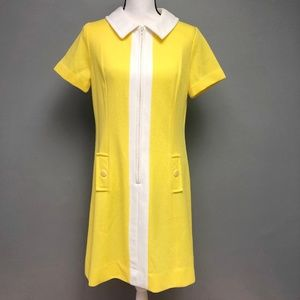 VTG 60s Betty Miller Canary Yellow Zip Front Dress